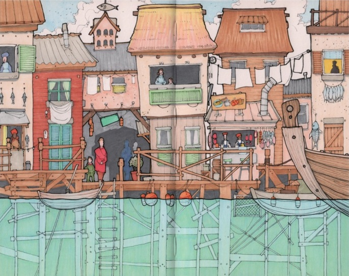 Rob Turpin's Stilted City emerges and sharpens in form, detail, and color.