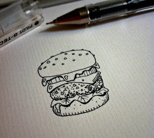 The hamburger sketch that got Rob Turpin drawing again, on a regular basis.