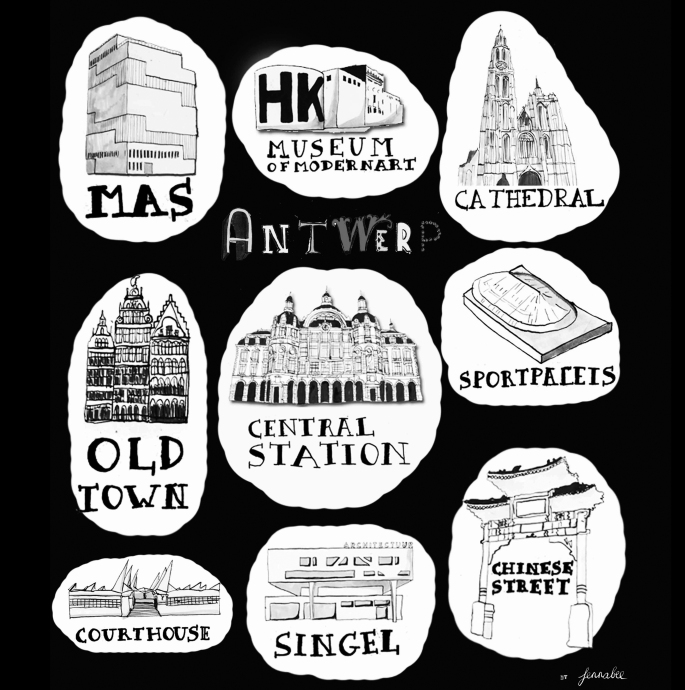 Antwerp landmarks, illustrated in black and white.
