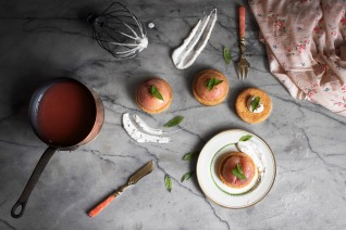 Poached peach verbena tartlets