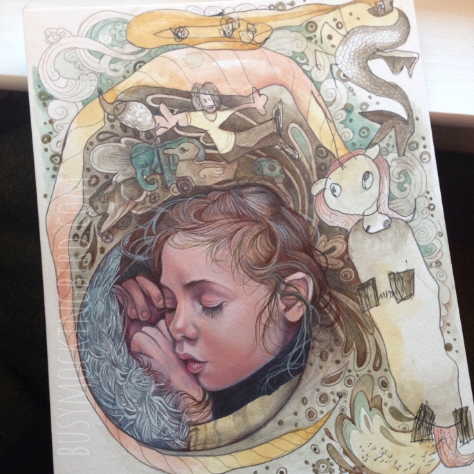 A dreaming Myla (on mixed media board).