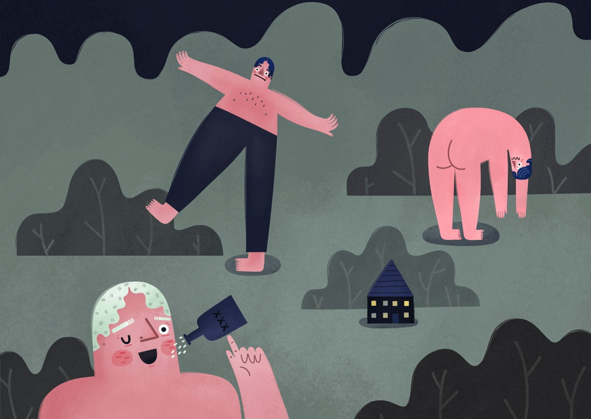 """""""We couldn't sleep at all last night because the giants were having a party"""" by Sarah Goodreau."""