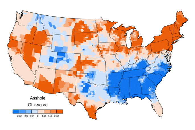 """Part of a series of maps by Jack Grieve showing regional patterns of swearing preferences in the US. Here's the map for """"asshole."""""""