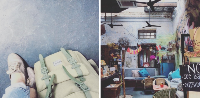 Left: If you could fit your life into a backpack, what would you put inside? Right: A coffee shop in the old town of Ipoh, Perak, Malaysia.