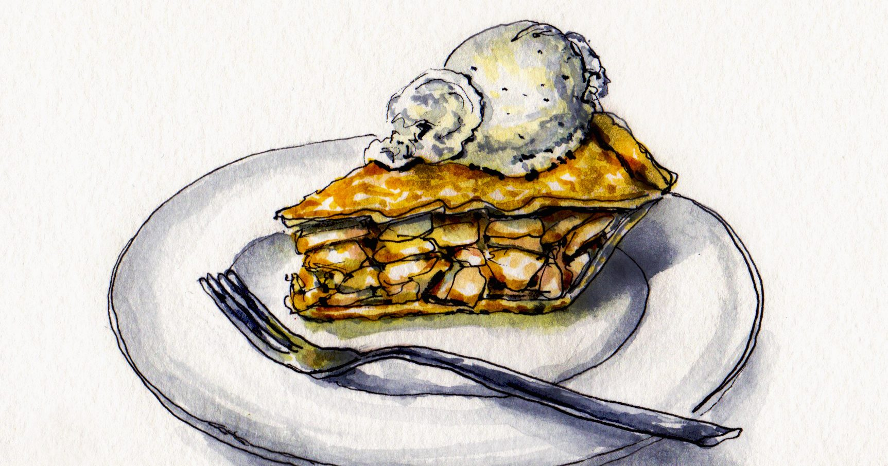 Apple pie drawing by Charlie O'Shields.
