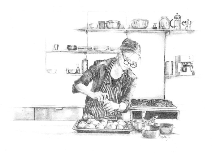 Drawing of Johanna Kindvall, from Molly Reeders Kitchen Drawing Series.