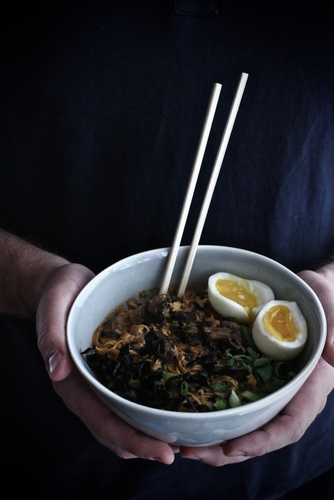Spicy Ramen with Tofu, Mushrooms, and a seven-minute Egg, from Harvest and Honey.