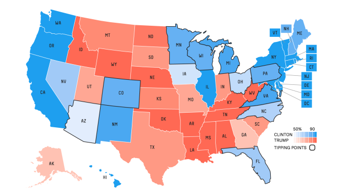 US presidential election forecast at FiveThirtyEight on October 20, 2016.