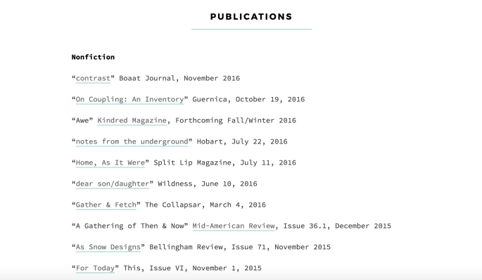 Melissa's publications page, organized as a simple list of links.