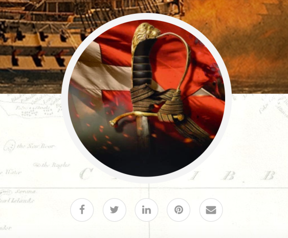 The profile image and social icons on Julian Stockwin's website.