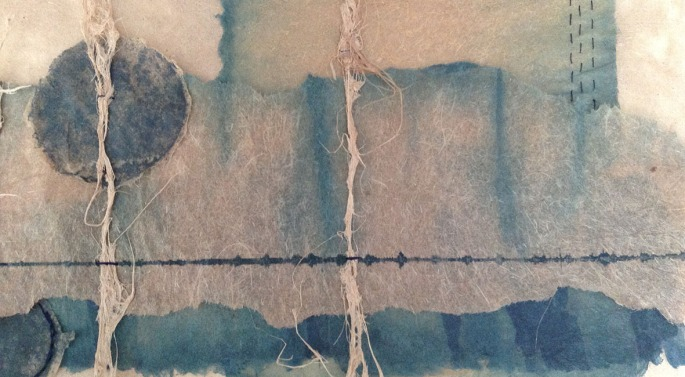 Listening to Birdsong (detail). Screen print  stitching on indigo-dyed banana paper, by Heather.