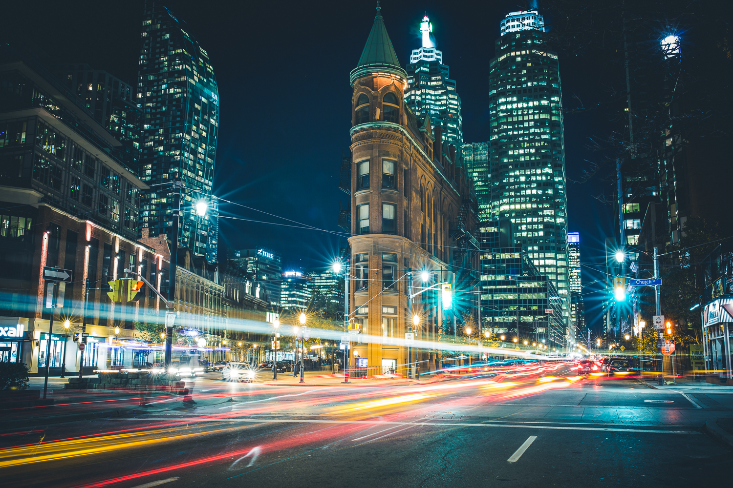 A night shot of the historic Gooderham Building in Toronto, Ontario, Canada, by Ryan Bolton.