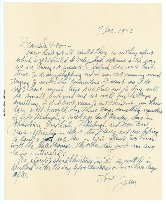 A letter dated December 7, 1945, from the World War II Letters category at Genealogy Lady.